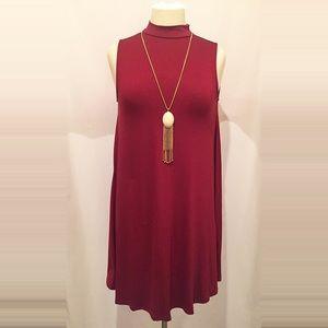 Wine Sleeveless Dress